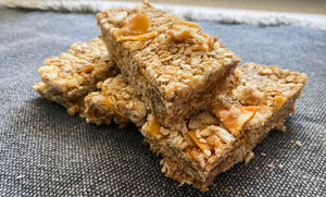 No-Bake Tropical Granola Bars with dried jackfruit and dried pineapple