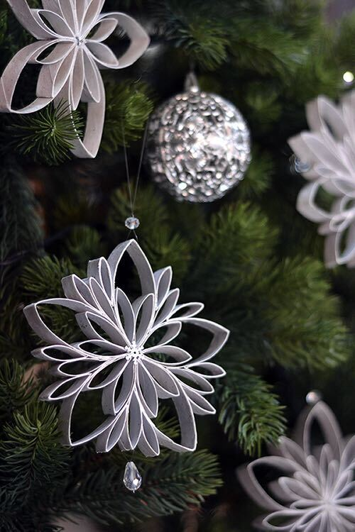 Upcycled toilet paper roll snowflake ornaments