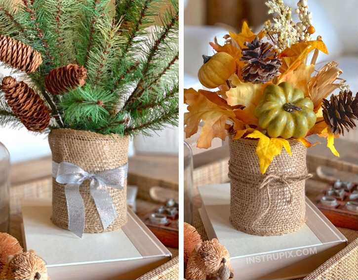 Upcycled aluminum can holiday centerpieces