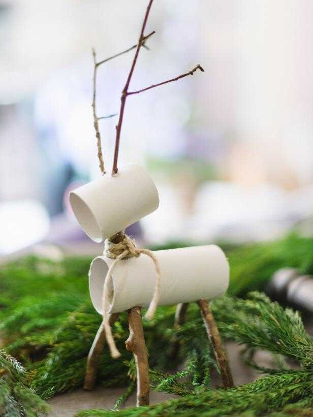 Upcycled gift wrap tube holiday deer decorations