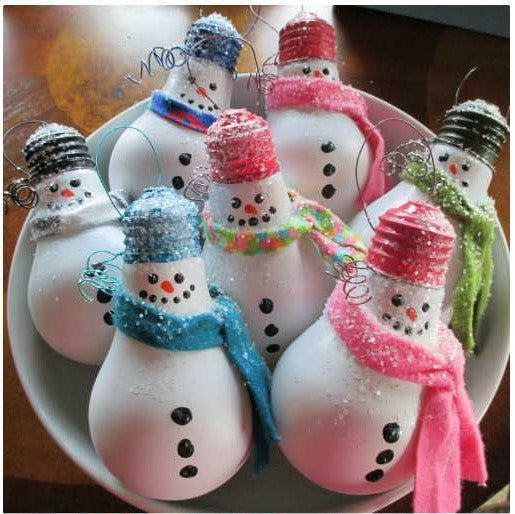 Upcycled light bulb snowman decorations