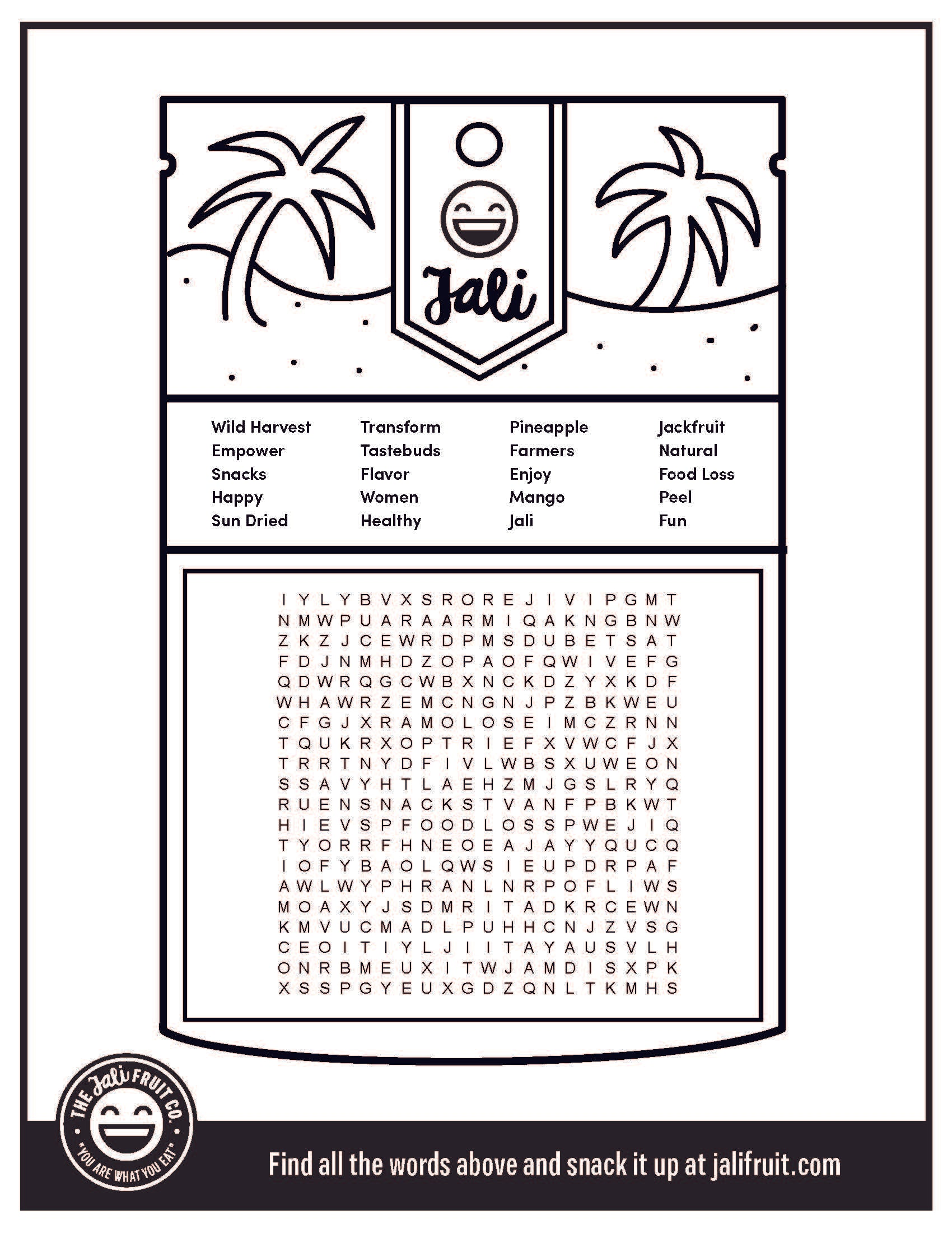 Jali Fruit Co wordsearch
