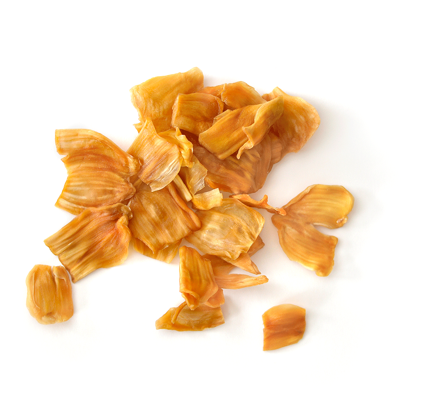 Healthy dried jackfruit pieces clumped together on a white background
