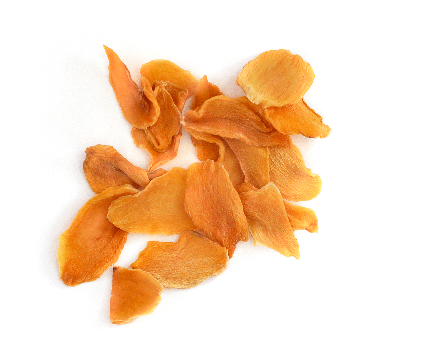 Healthy dried mango pieces clumped together on a white background