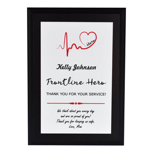 Frontline Hero Heartbeat Appreciation Plaque