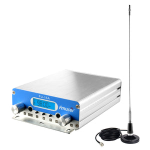 Drive in Movie Radio Transmitter 1W/15W Tow Power Level FM Broadcast Transmitter with Antenna with Coaxial Cable Complete Kit