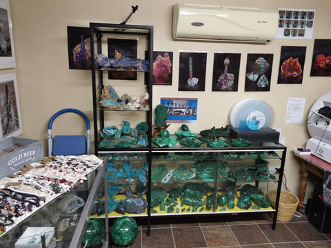 Malachite display at Crystal Spring Minerals
