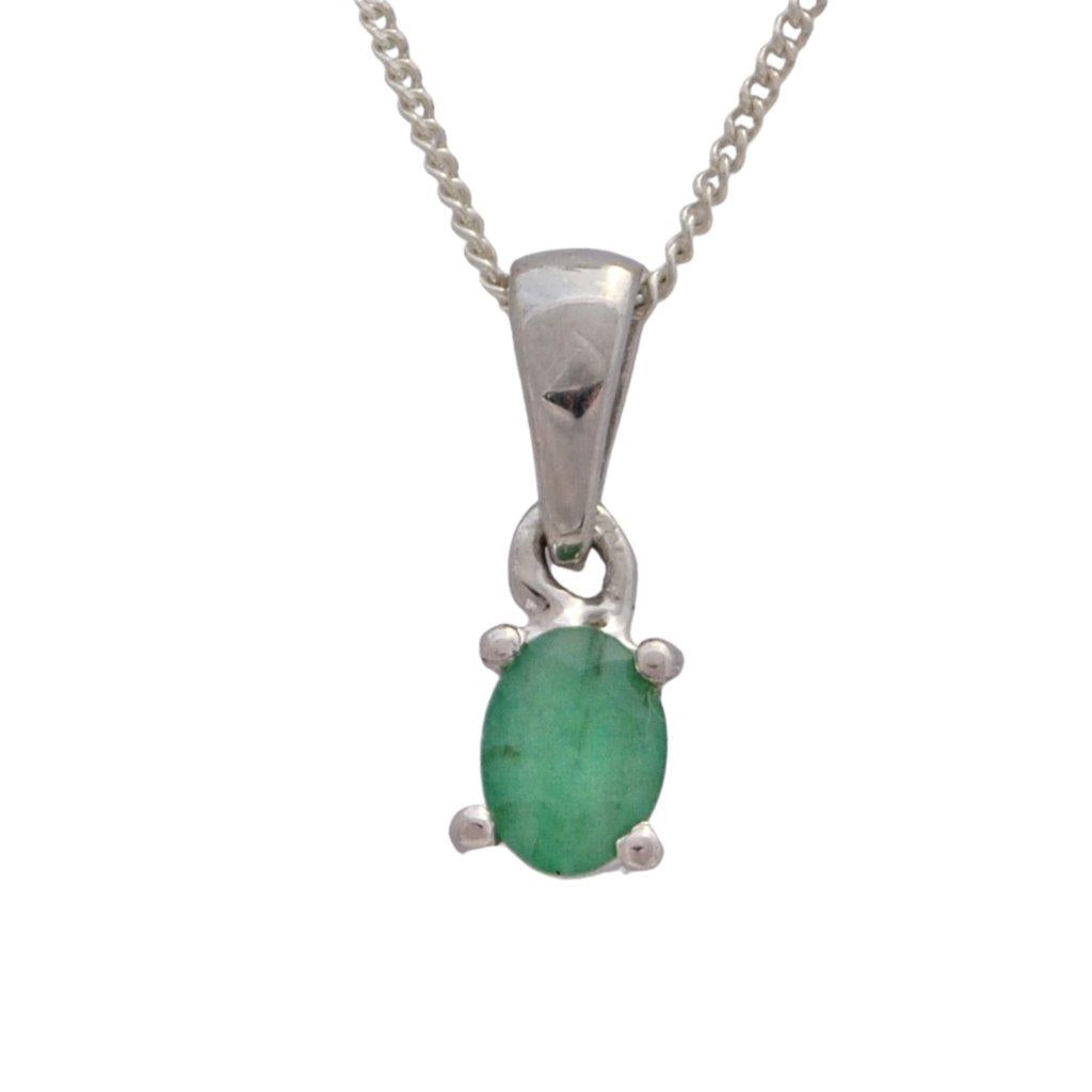 Natural green emerald gemstone clay set sterling silver necklace