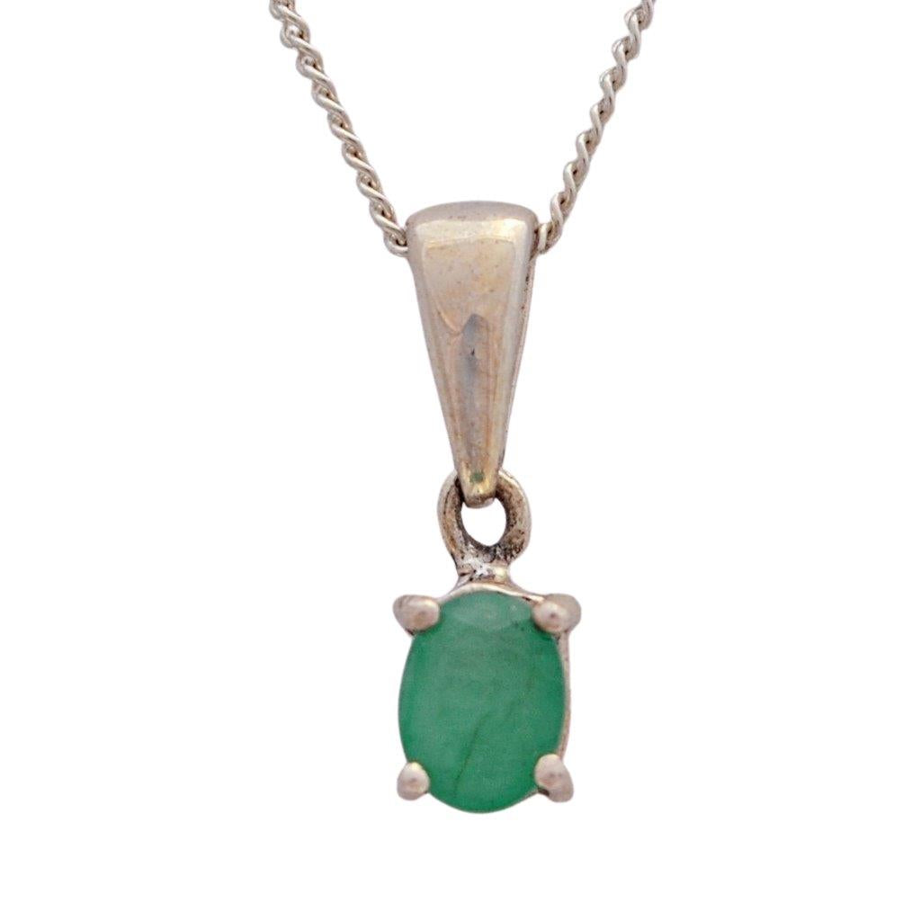 Oval green emerald birthstone necklace