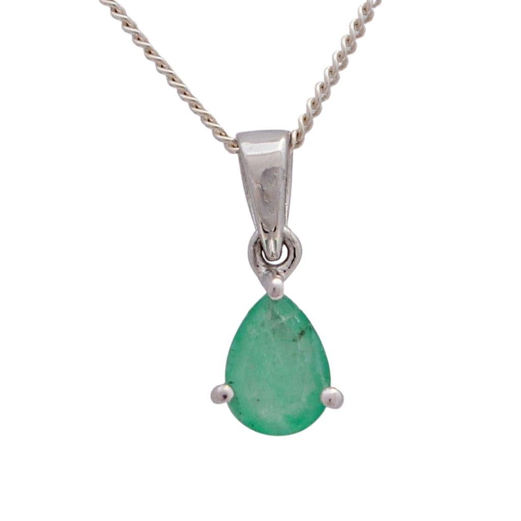 Green emerald faceted pear shape sterling silver necklace