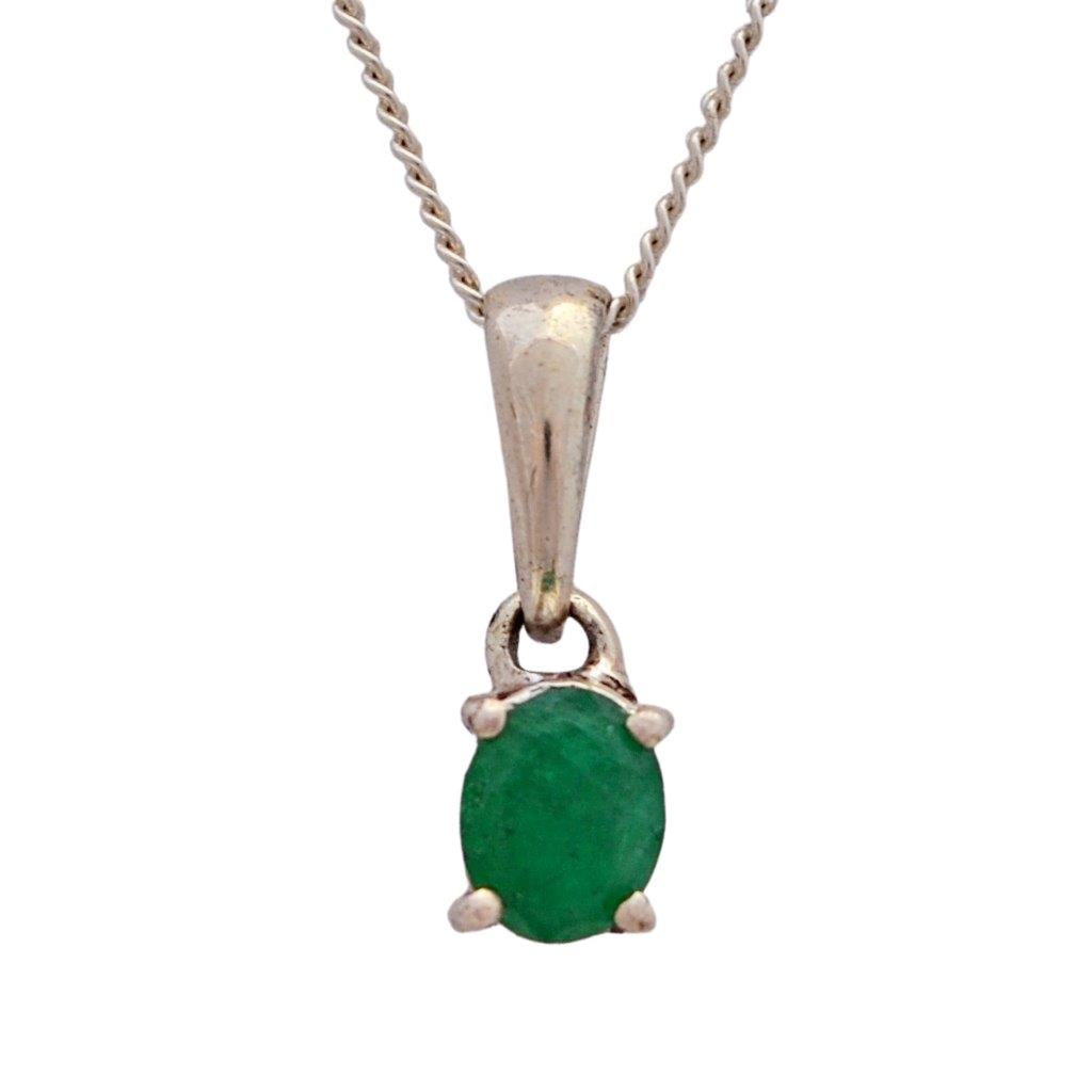 Dark green oval faceted emerald claw set sterling silver necklace