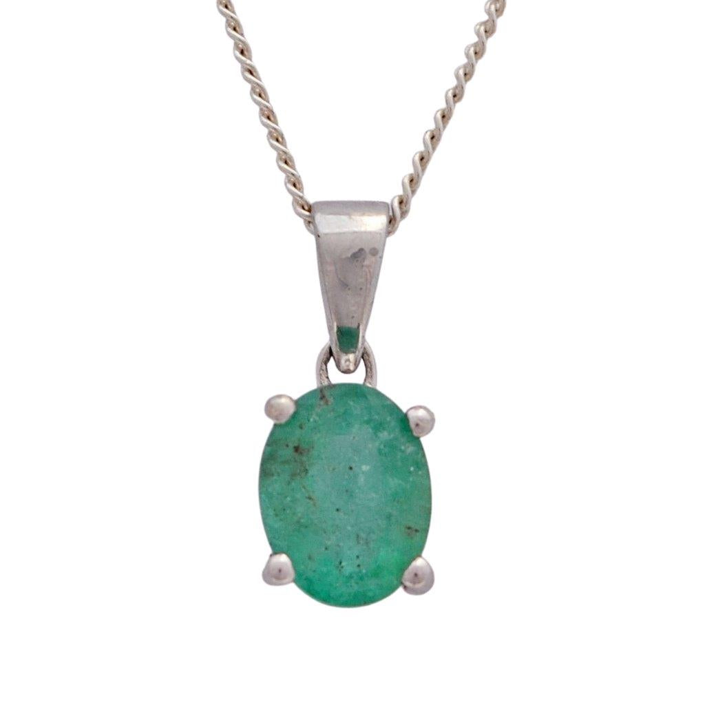 Oval emerald claw set sterling silver necklace