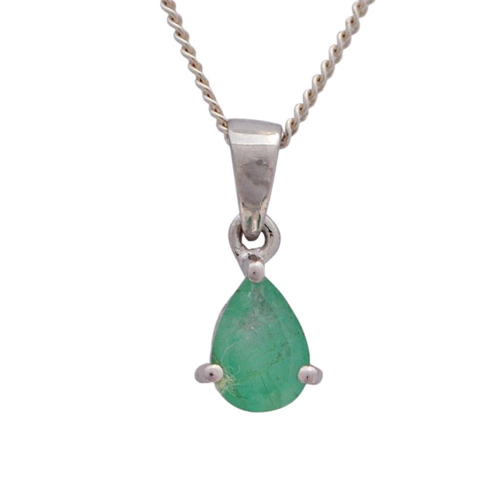 Natural green pear shaped emerald claw set necklace