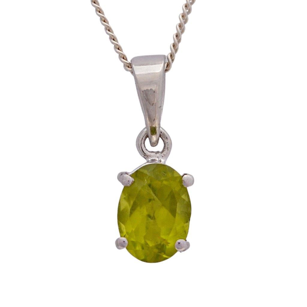 Faceted oval green peridot gemstone claw set sterling silver necklace pendant