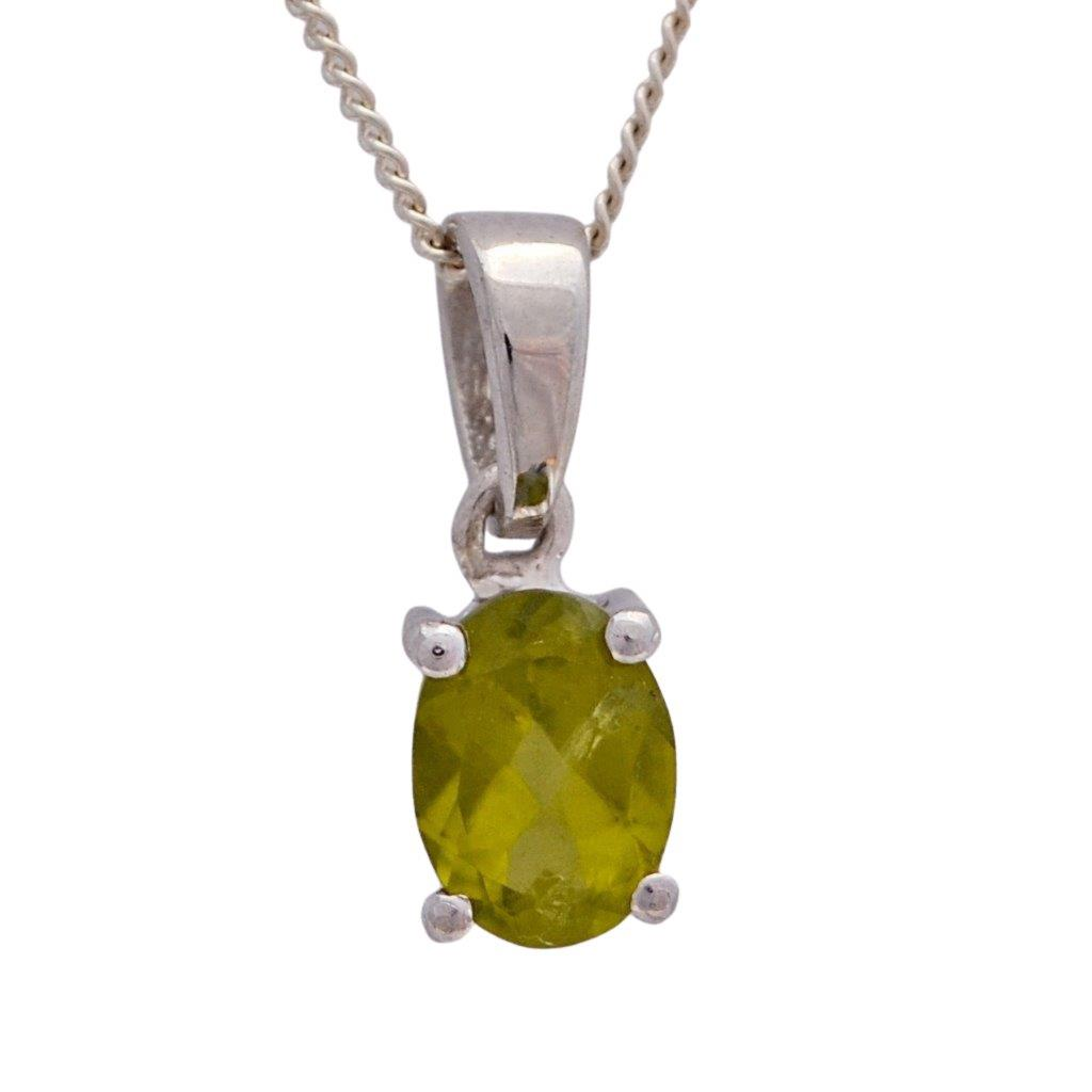 Oval faceted green peridot sterling silver necklace pendant