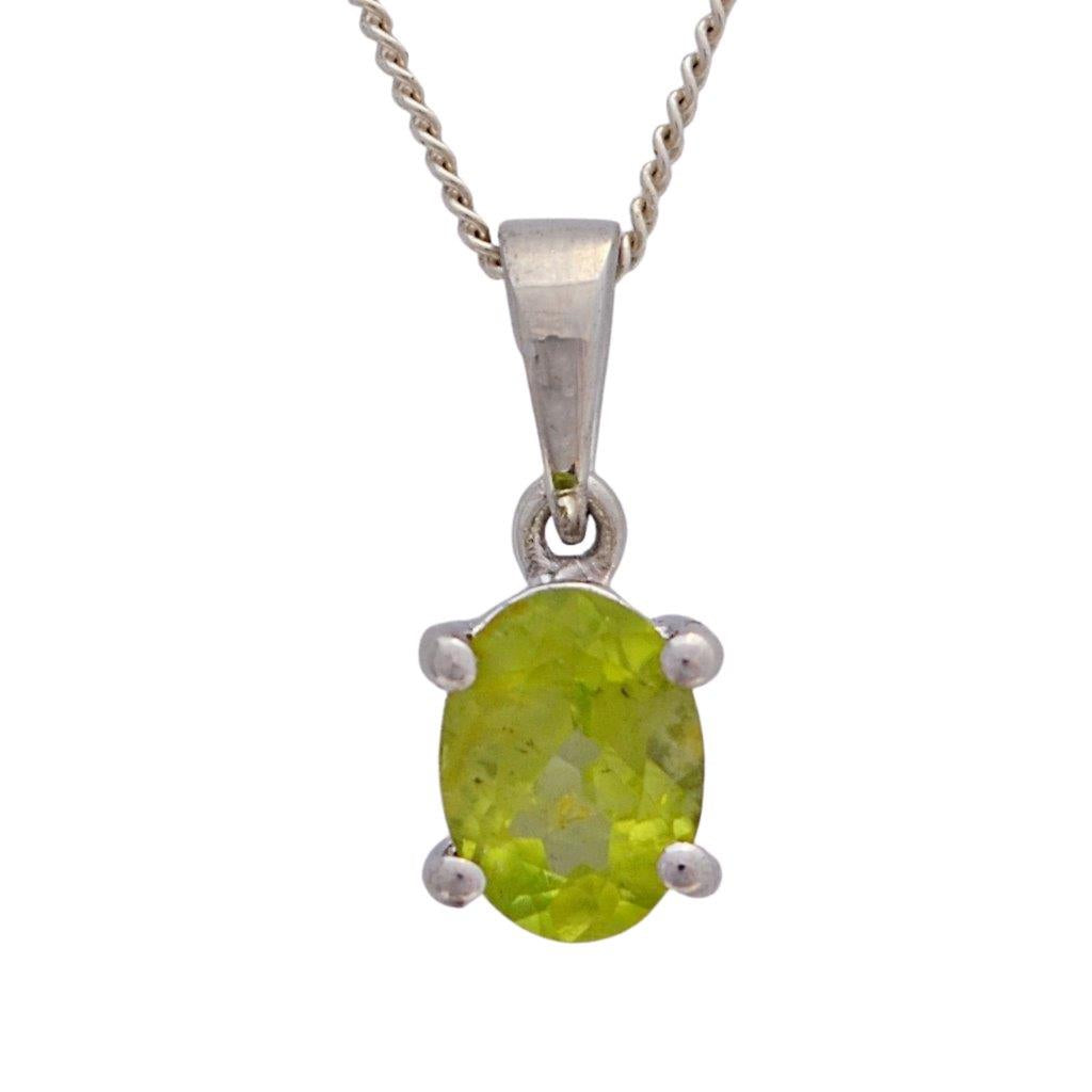 Green peridot faceted oval gemstone claw setting sterling silver pendant necklace
