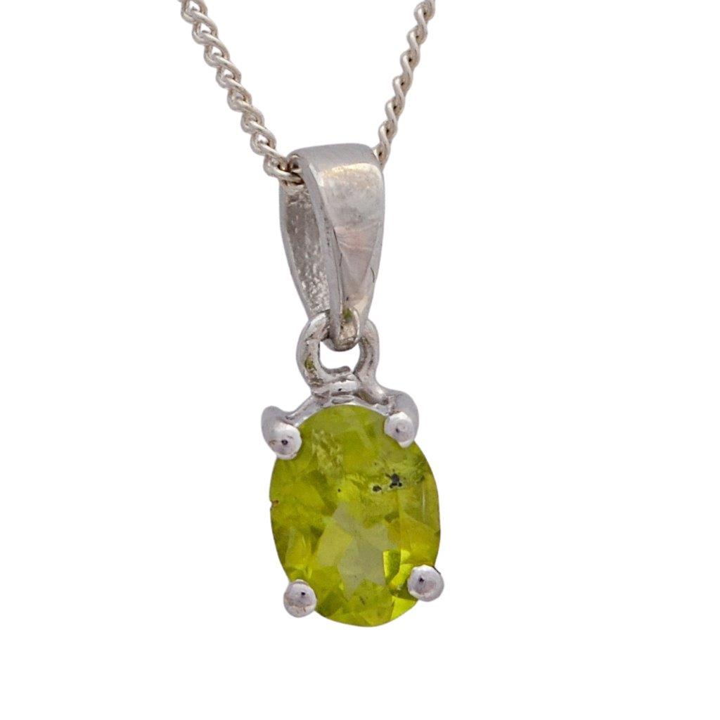 Oval peridot faceted claw set sterling silver necklace