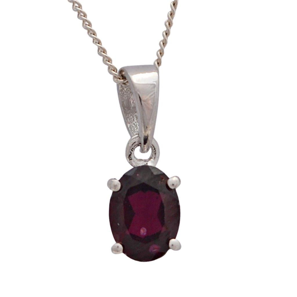 Red garnet sterling silver birthstone claw set pendant