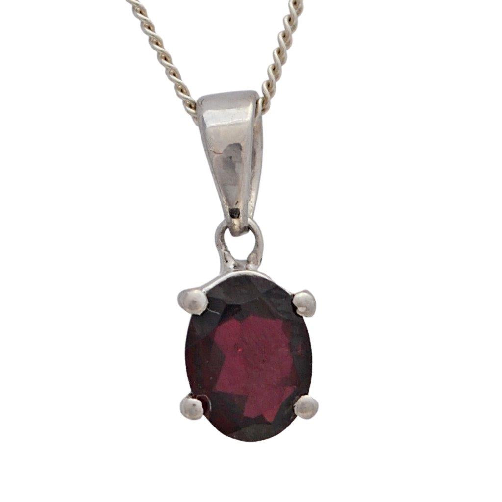 Red garnet birthstone january sterling silver necklace