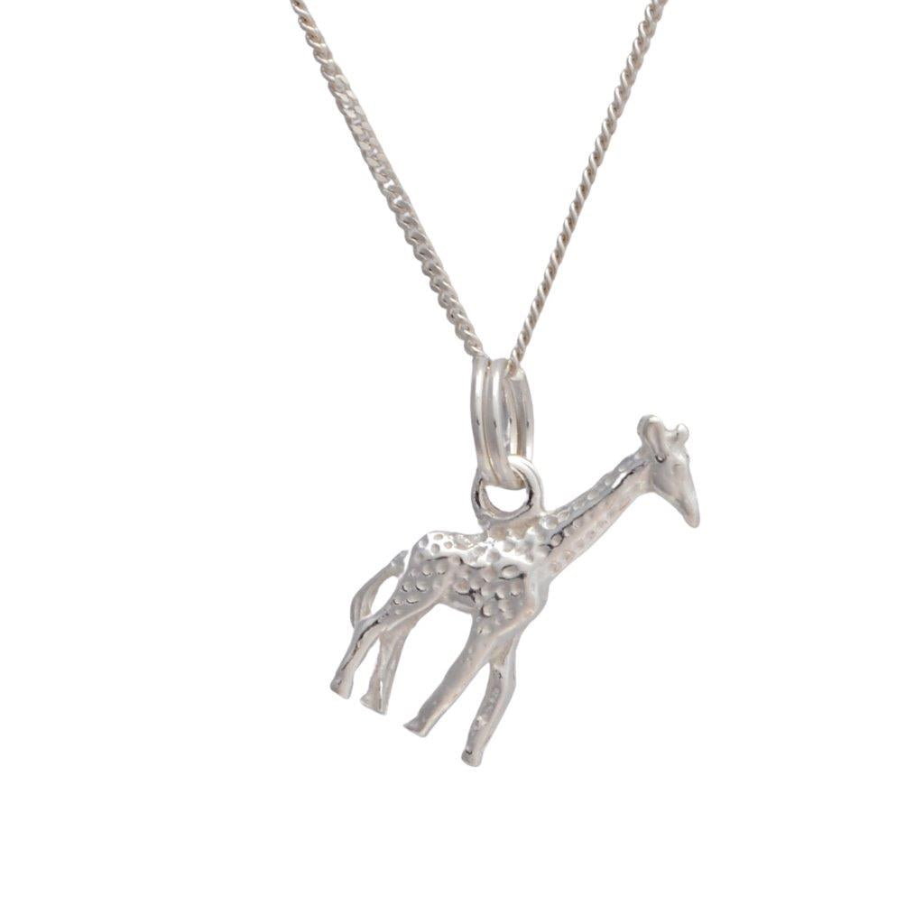 Detailed giraffe sterling silver pendant on 45cm silver chain