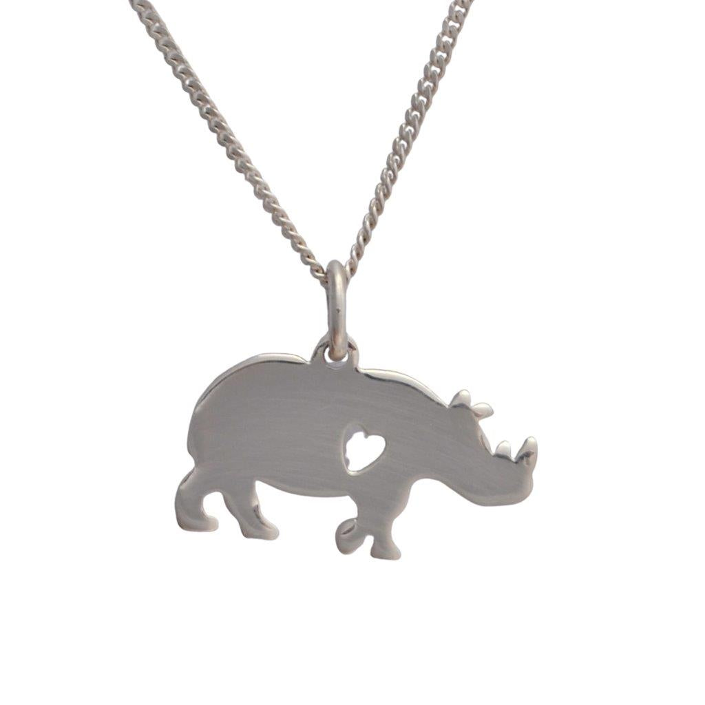 Sterling silver rhinoceros with heart cutout on sterling silver chain