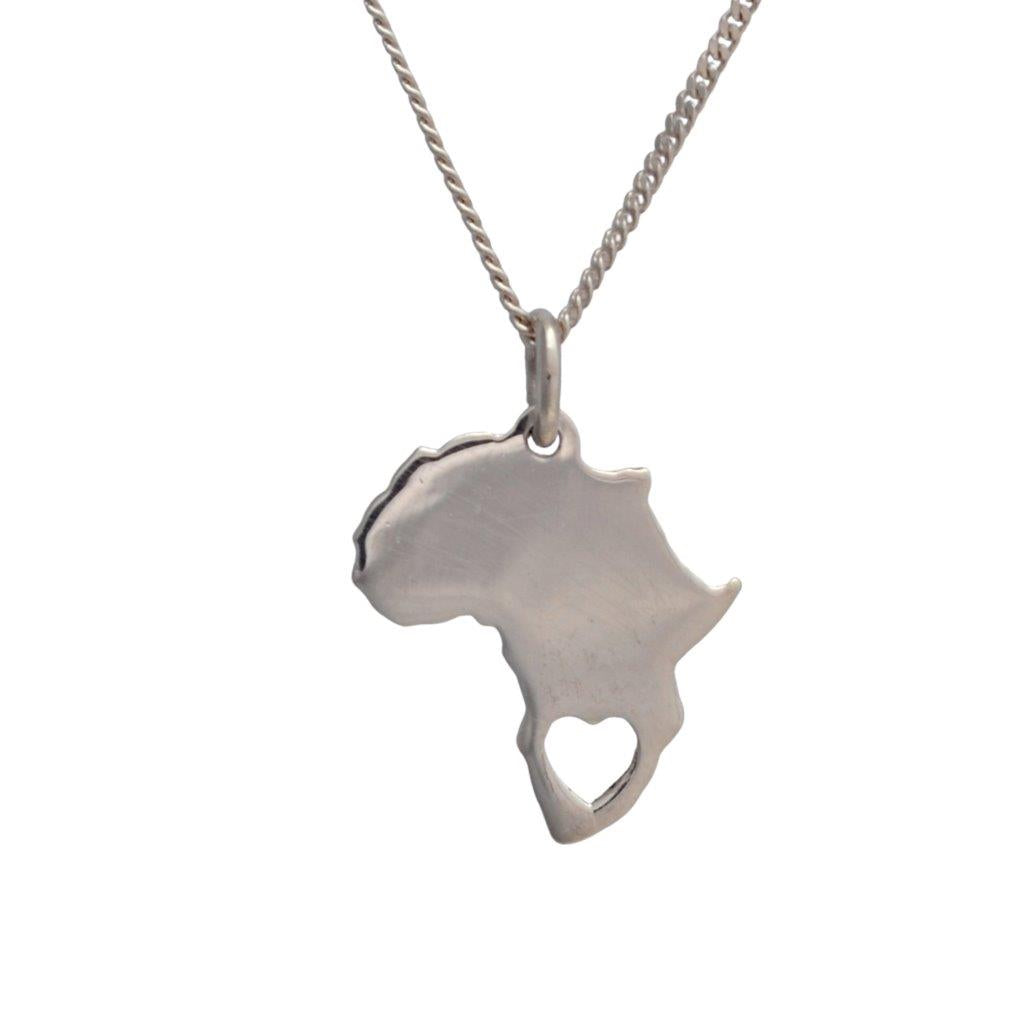 Africa sterling silver pendant with heart cutout on sterling silver chain