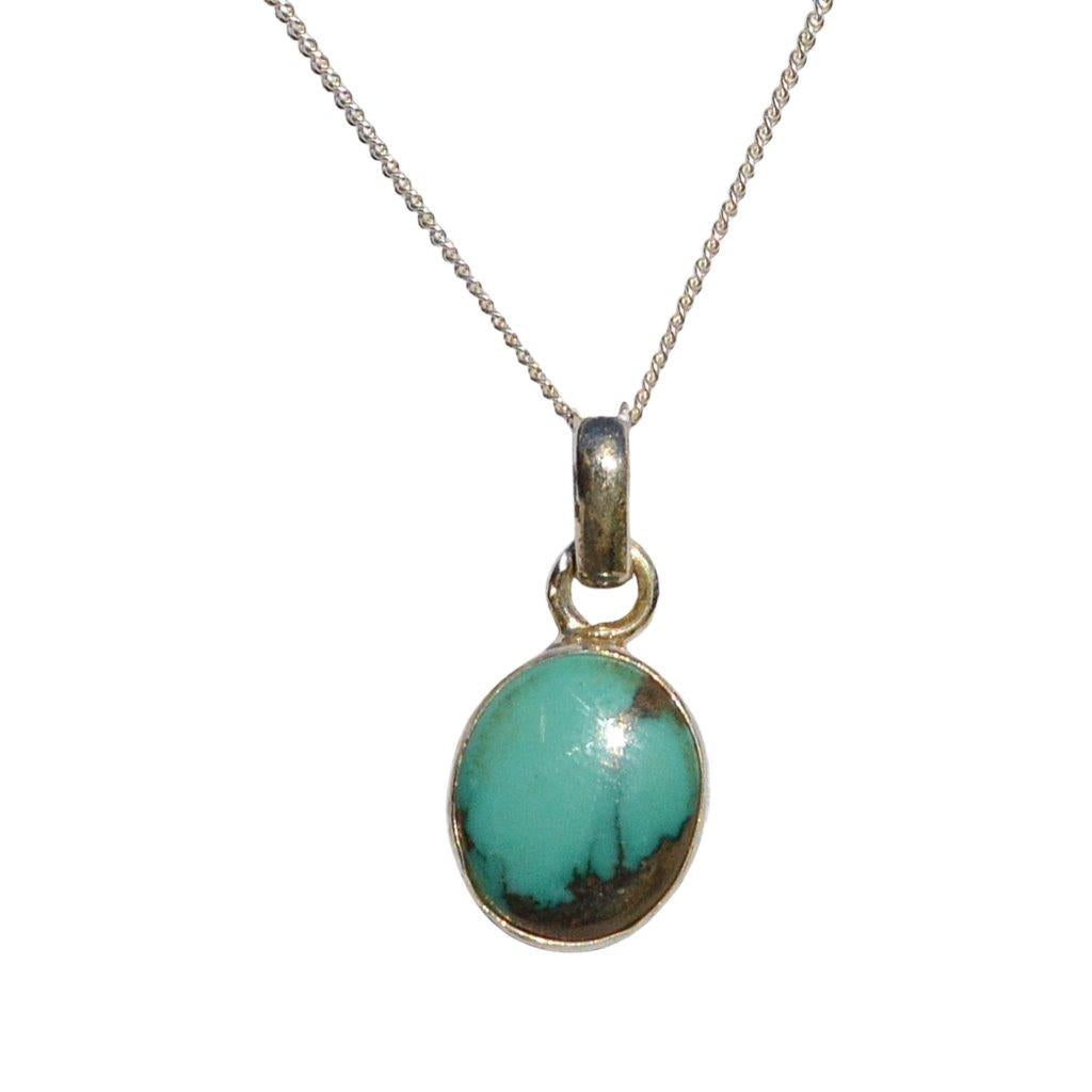 Natural turquoise ova sterling silver pendant on 45cm stelring silver chain
