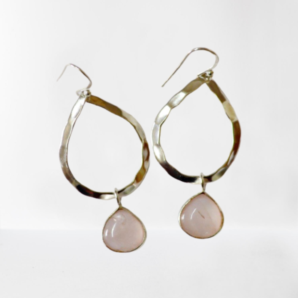 Rose Quartz teardrop gemstone hammered sterling silver hoop earrings