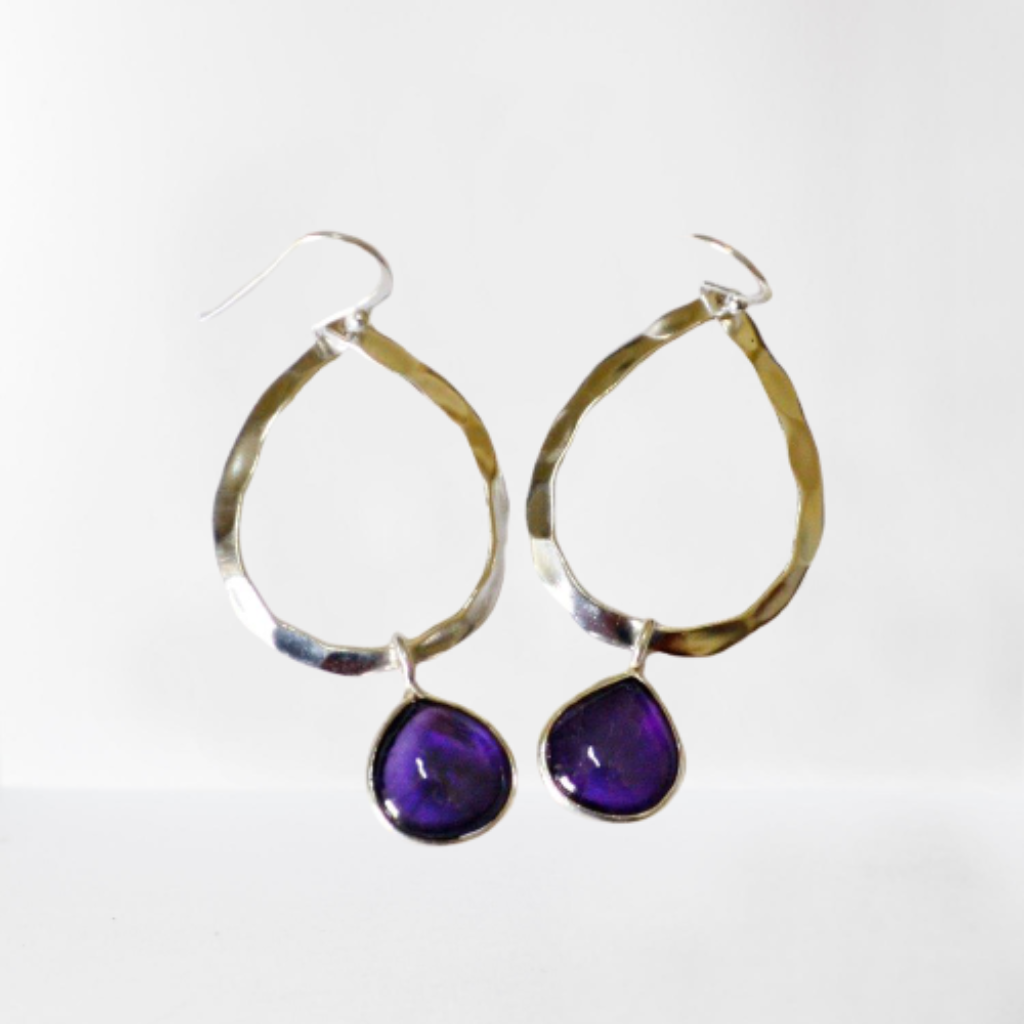 Amethyst teardrop gemstone hammered sterling silver hoop earrings