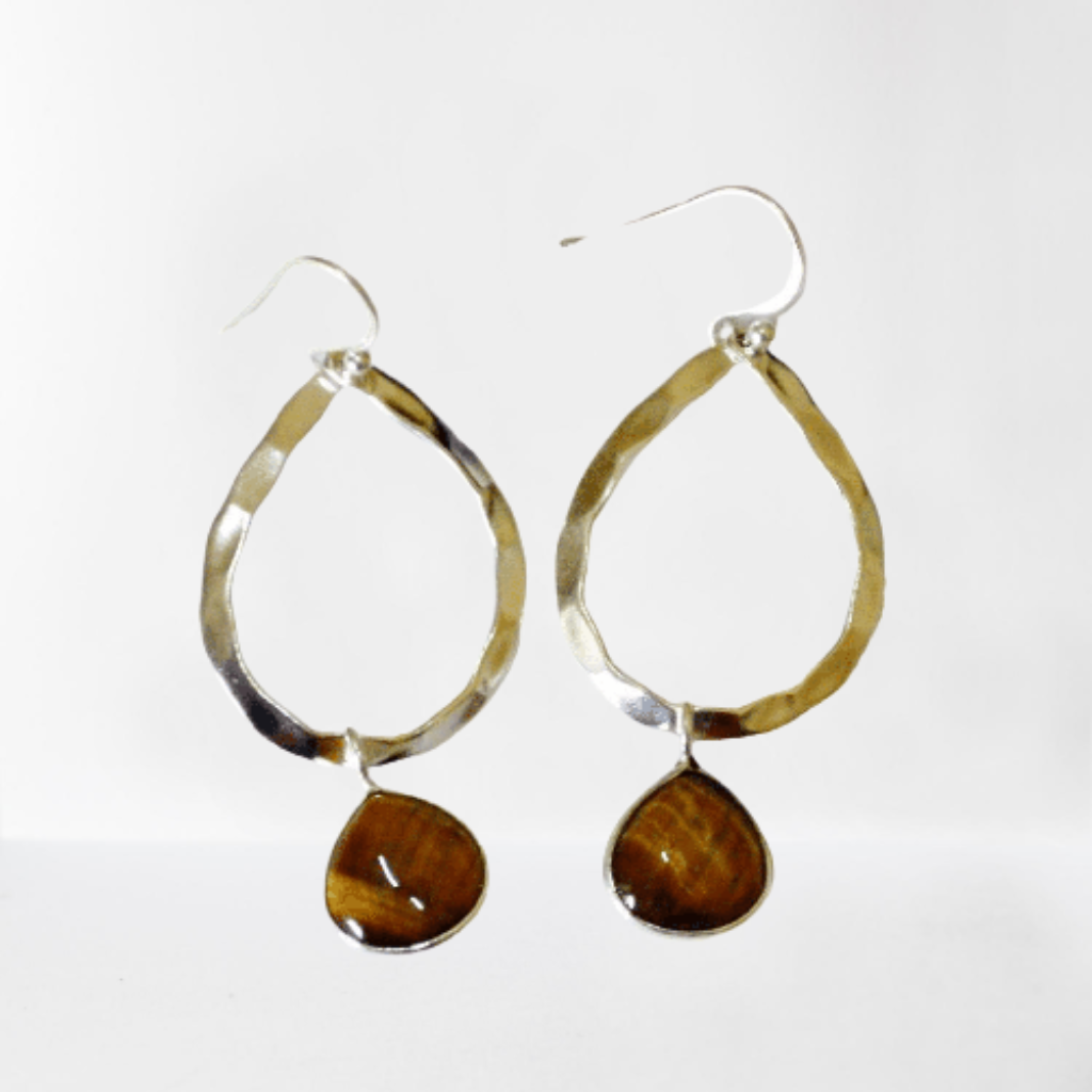 Tigers Eye teardrop gemstone hammered sterling silver hoop earrings