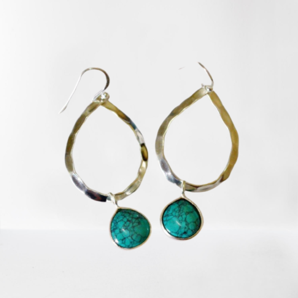 Turquoise teardrop gemstone hammered sterling silver hoop earrings