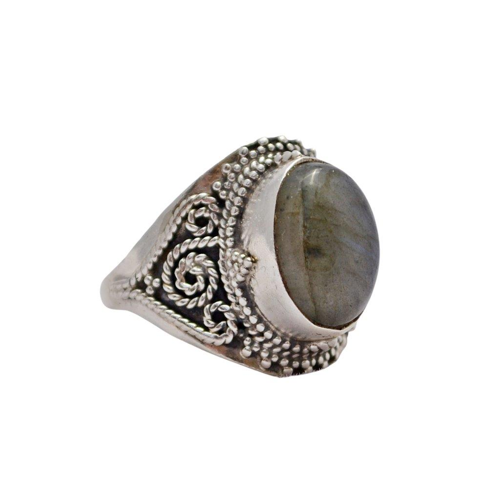 Oval Labradorite Sterling Silver Ring with Twisted Wire Swirl Decorations