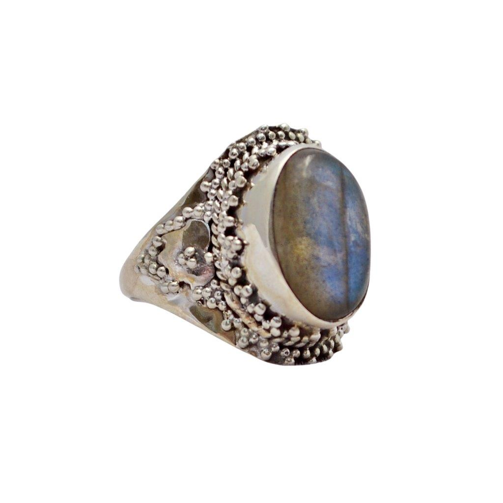 Oval Labradorite Sterling Silver Ring with Ball Decorations