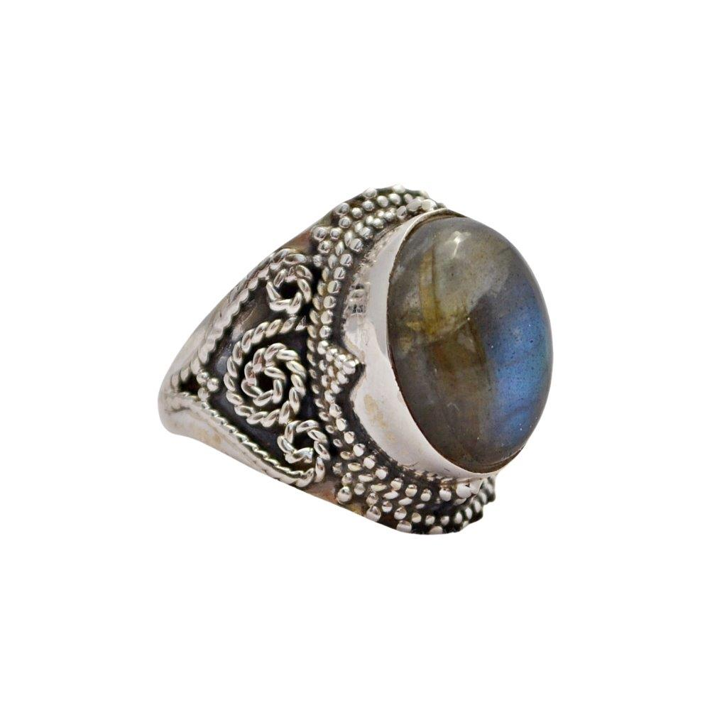 Oval Labradorite Sterling Silver Ring with Twisted Wire Decorations