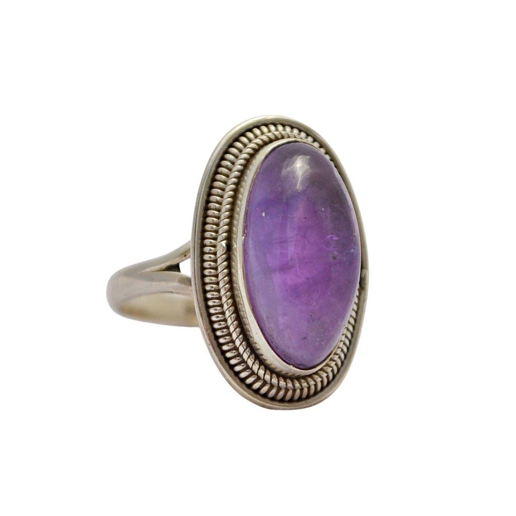 Oval Amethyst Sterling Silver Ring With Twisted Wire Detail