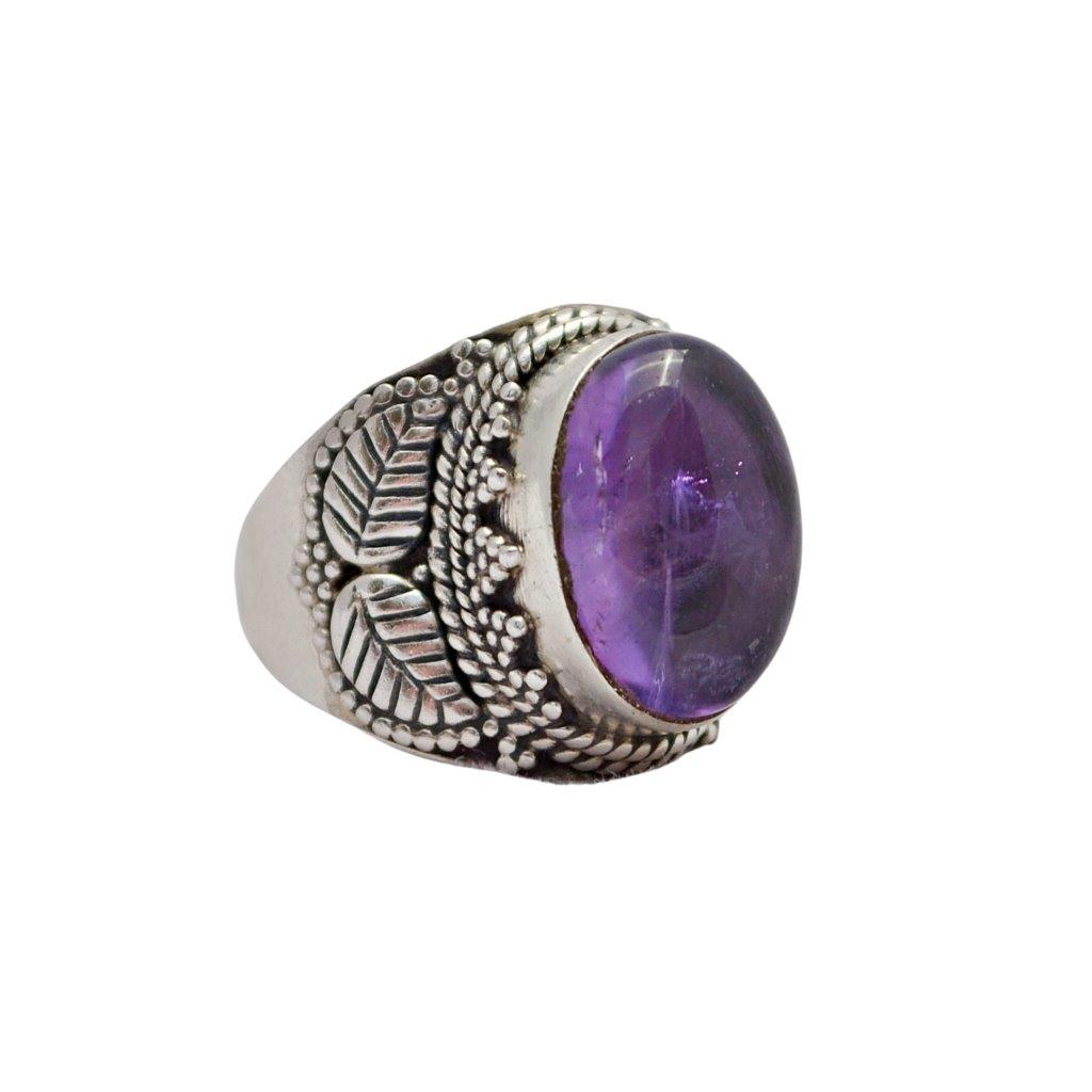 Oval Amethyst Sterling Silver Ring With Leave Feather Detail