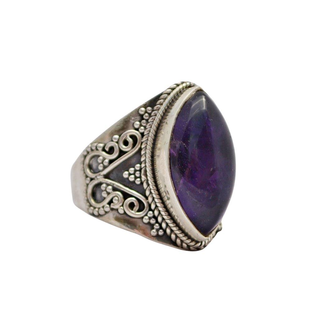 Marquise Amethyst Sterling Silver Ring with Ball and wire Decorations