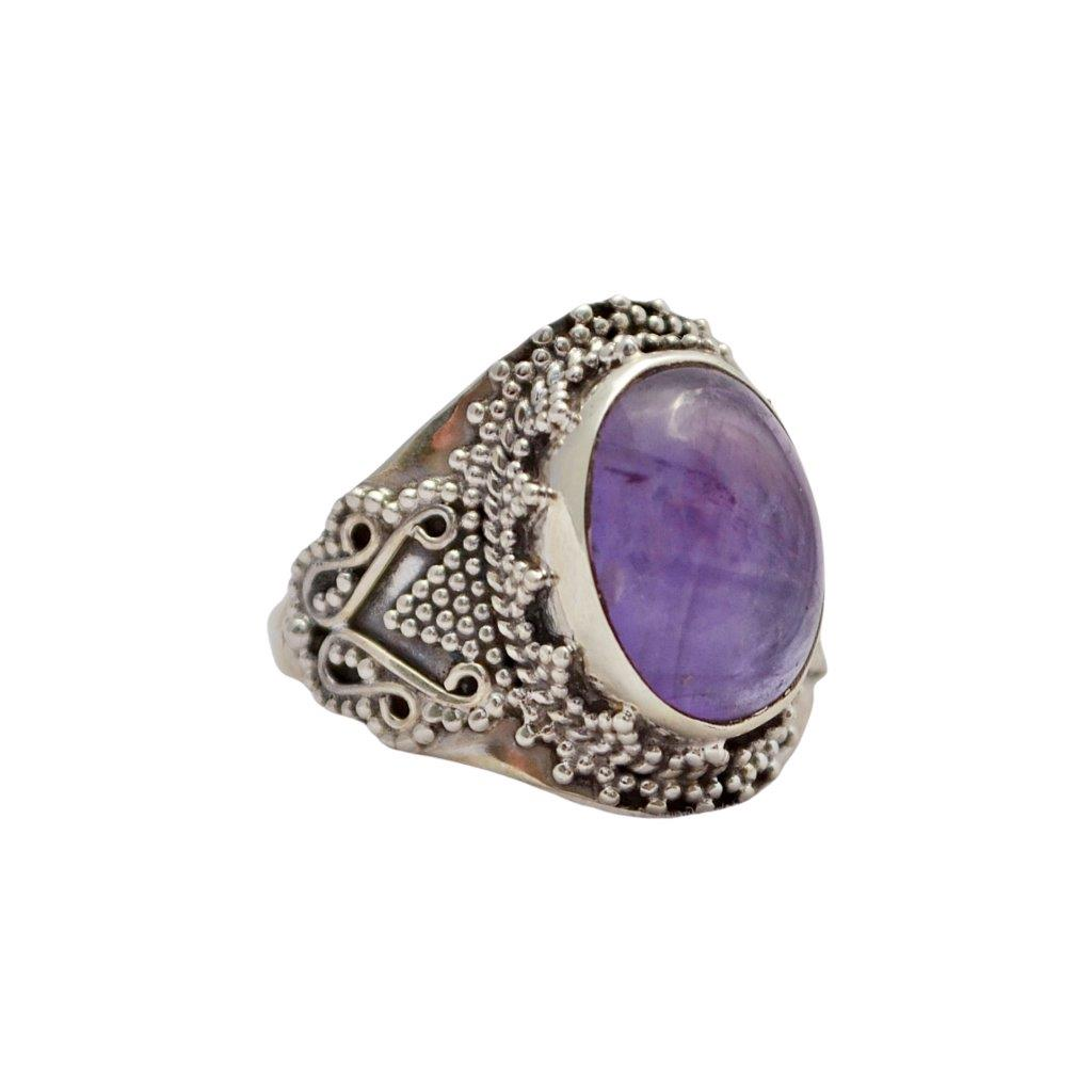 Oval Amethyst Sterling Silver Ring With Ball and Wire Embellishments