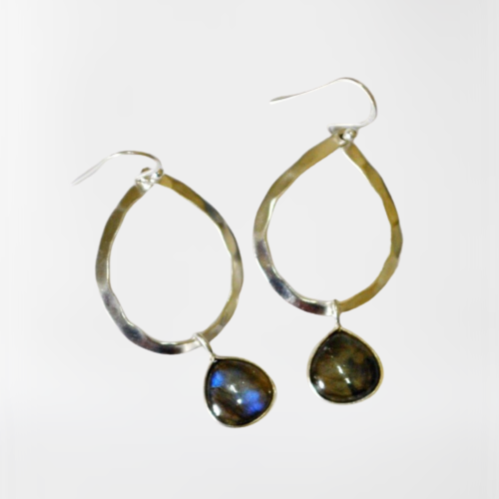 Labradorite teardrop gemstone hammered sterling silver hoop earrings