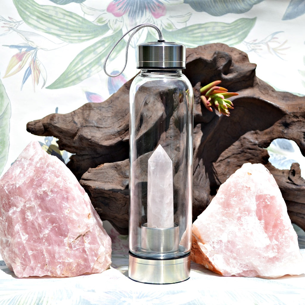 Rose quartz crystal point glass and stainless steel water bottle