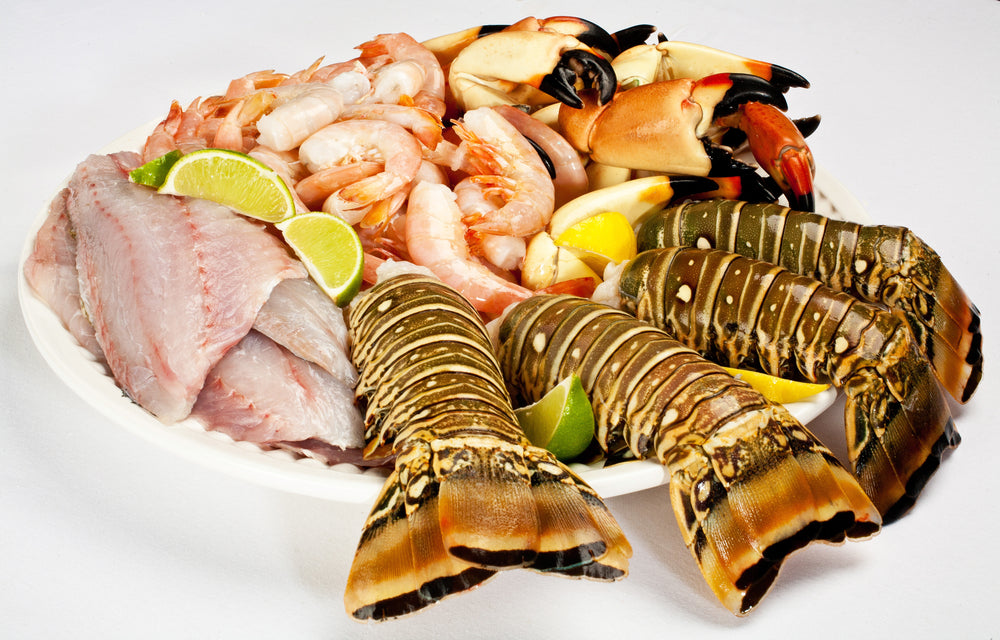 Florida lobster tails, stone crab claws, yellowtail snapper, pink shrimp