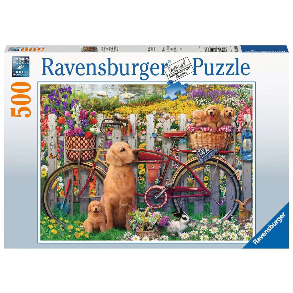 Cute Dogs In The Garden 500 pc