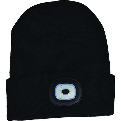 Night Scout Adult USB Rechargeable LED Beanie Hat Black