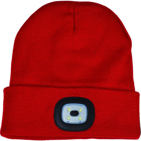Night Scout Adult USB Rechargeable LED Beanie Hat Red