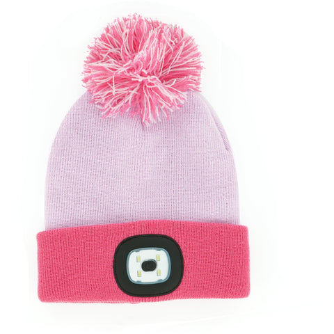 Night Owl Kids USB Rechargeable LED Beanie Hat, Pink
