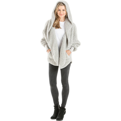 Lightweight Sherpa Wrap with Hood, Gray