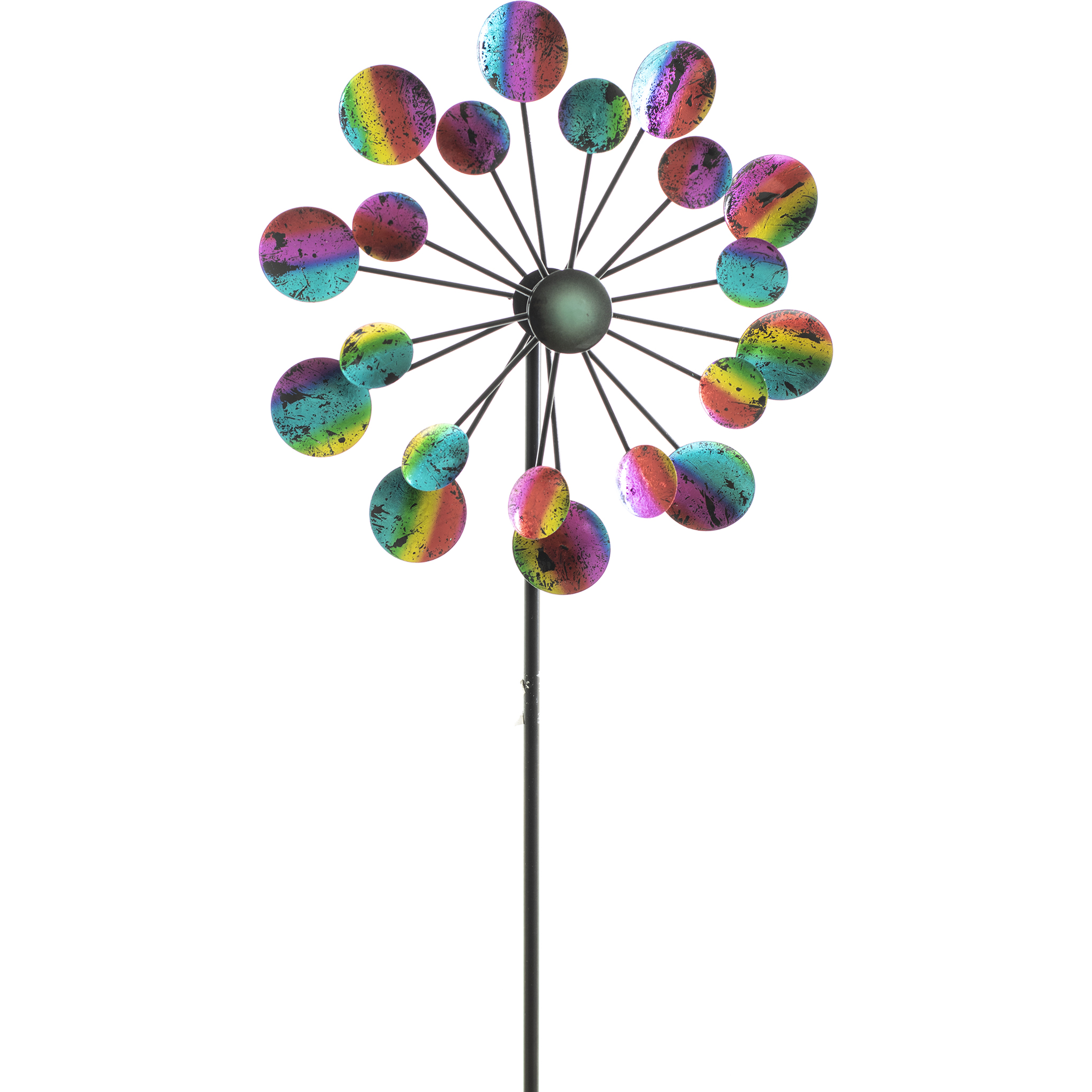 Rainbow Crackle Windmill Metal Garden Stake CURBSIDE PICKUP ONLY