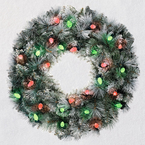 Hallmark Sound-a-Light Flocked Christmas Wreath With Lights, 24""