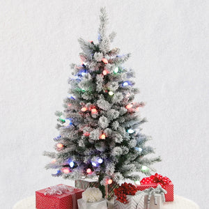 Hallmark Sound-A-Light Musical Flocked Christmas Tree With Lights, 4'