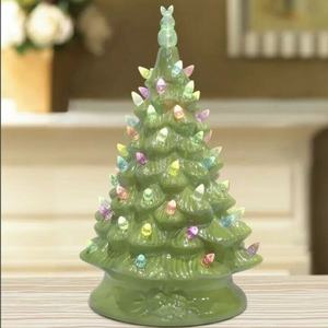 16 Inch Lit Ceramic Easter Tree (Green)